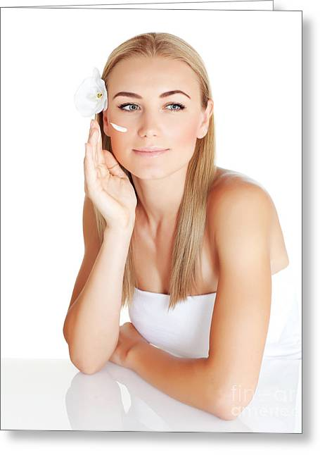Moisturizer Greeting Cards - Young woman apply cream Greeting Card by Anna Omelchenko