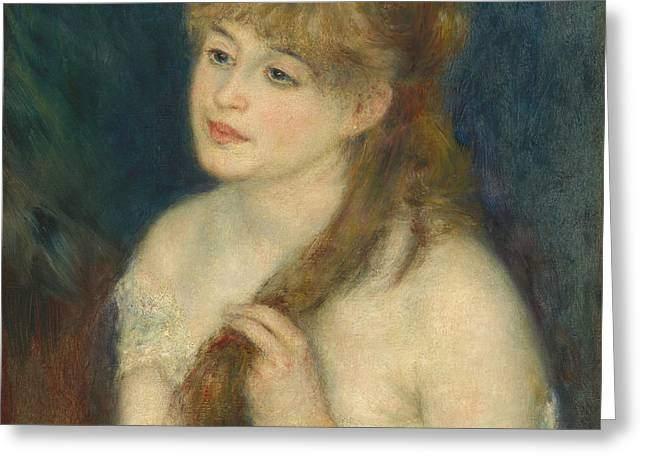 French Fries Greeting Cards - Young Woman Braiding Her Hair Greeting Card by Auguste Renoir
