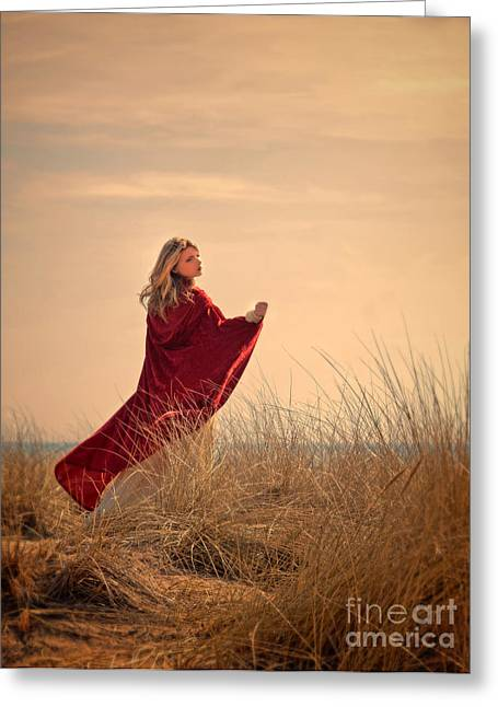 Young Lady Photographs Greeting Cards - Young woman by the sea. Greeting Card by Jill Battaglia