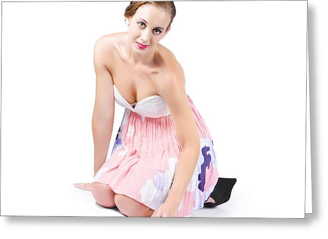 Young Woman Cleaning Floor Greeting Card by Jorgo Photography - Wall Art Gallery