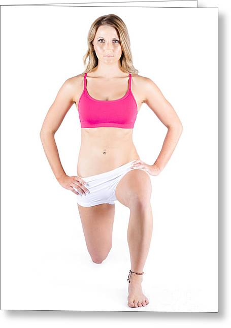 Young Woman Exercising Greeting Card by Jorgo Photography - Wall Art Gallery