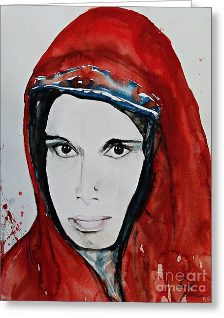 Isi Greeting Cards - Young Woman from India - Painting Greeting Card by Ismeta Gruenwald