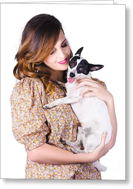 Guard Dog Greeting Cards - Young woman holding dog Greeting Card by Ryan Jorgensen