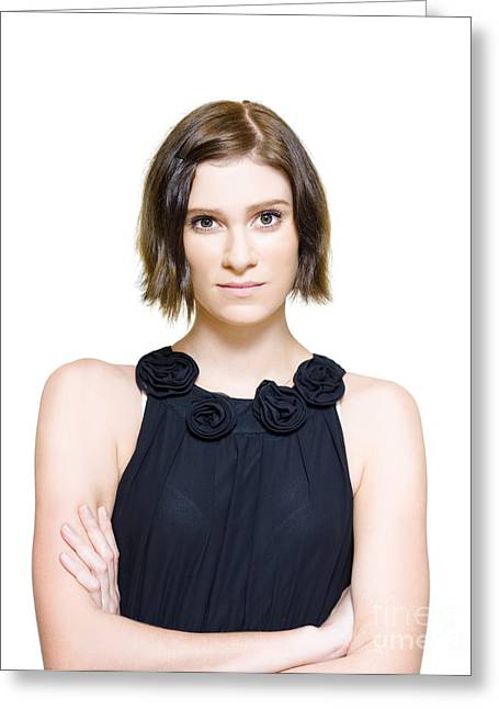 Sleeveless Greeting Cards - Young Woman Looking Nervous And Anxious Greeting Card by Ryan Jorgensen
