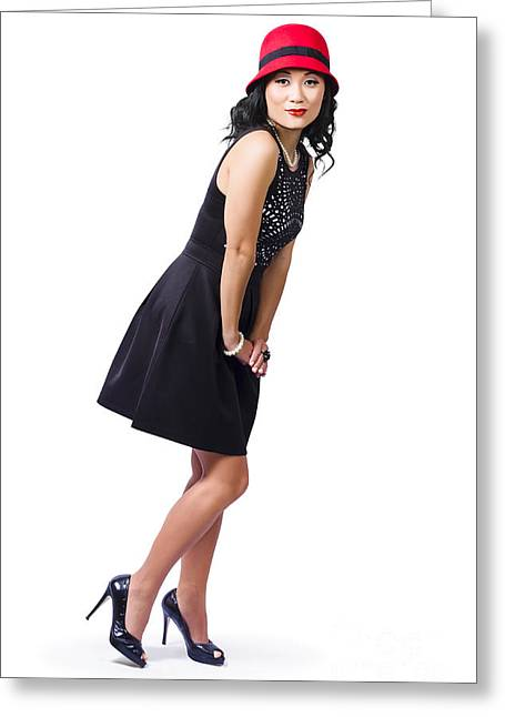 Knee-high Greeting Cards - Young woman posing Greeting Card by Ryan Jorgensen