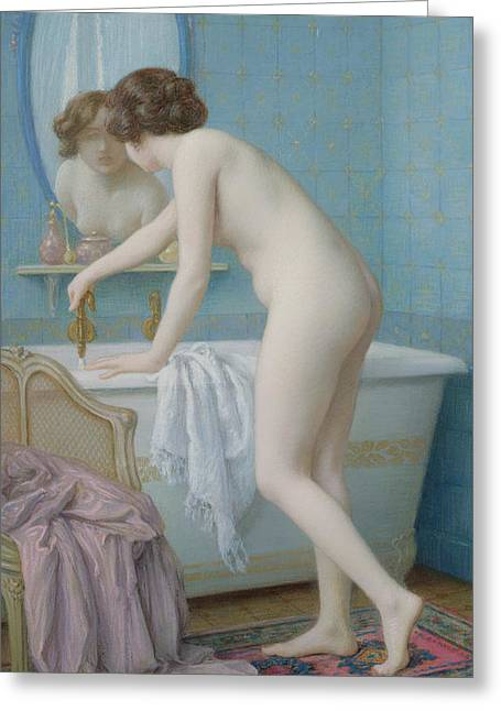 Feminine Pastels Greeting Cards - Young Woman Preparing her Bath Greeting Card by Jules Scalbert