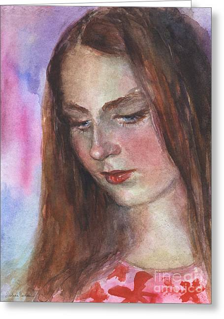 Pensive Drawings Greeting Cards - Young woman watercolor portrait painting Greeting Card by Svetlana Novikova