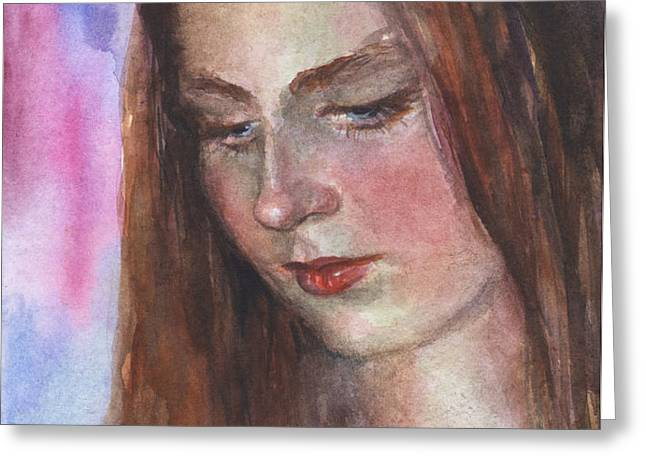 Young woman watercolor portrait painting Greeting Card by Svetlana Novikova