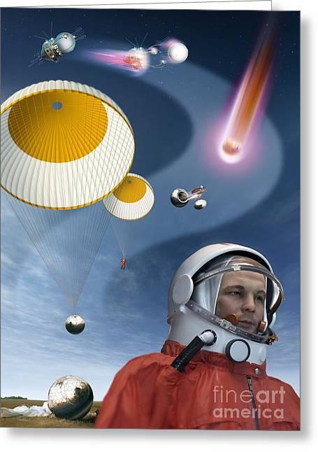 Landing Stage Greeting Cards - Yuri Gagarins Landing, Artwork Greeting Card by Detlev van Ravenswaay