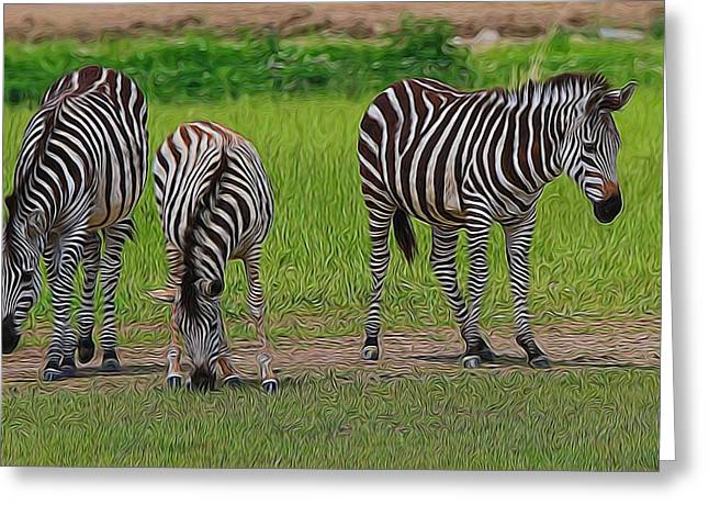 Conservationist Greeting Cards - Zebra Family Greeting Card by Dan Sproul