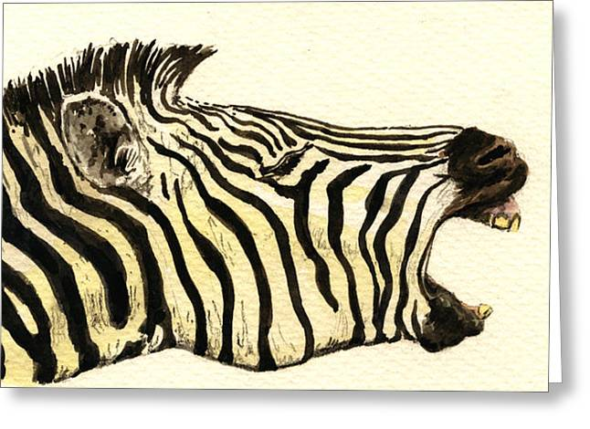 Nature Study Paintings Greeting Cards - Zebra head study Greeting Card by Juan  Bosco