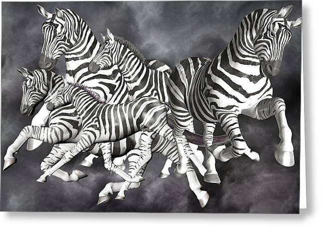 Family Time Greeting Cards - Zebras  Greeting Card by Betsy C  Knapp