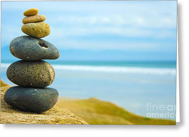 Orient Photographs Greeting Cards - Zen Stone stacked together Greeting Card by Aged Pixel