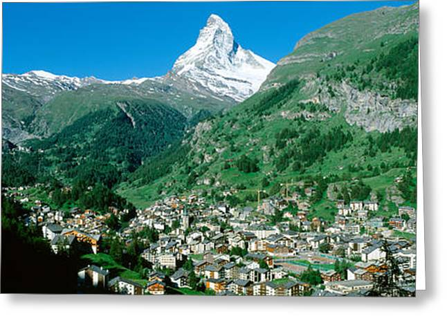 Snow Capped Greeting Cards - Zermatt, Switzerland Greeting Card by Panoramic Images