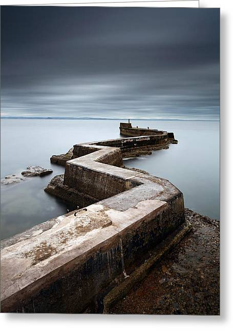 North Sea Greeting Cards - Zig-zag pier Greeting Card by Grant Glendinning