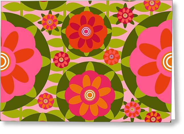 Recently Sold -  - Watermelon Greeting Cards - Zinnia Garden Greeting Card by Lisa Noneman