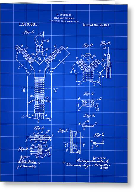 Electrical Engineer Greeting Cards - Zipper Patent 1914 - Blue Greeting Card by Stephen Younts