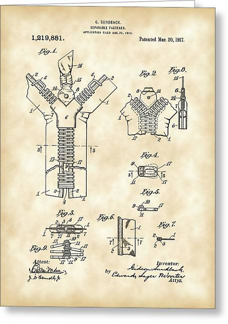 Zipper Greeting Cards - Zipper Patent 1914 - Vintage Greeting Card by Stephen Younts
