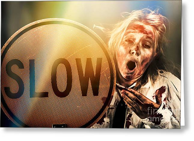 Zombie Business Person Holding Slow Sign  Greeting Card by Jorgo Photography - Wall Art Gallery