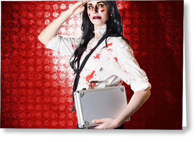 Zombie Business Woman In Red Alert Emergency Greeting Card by Jorgo Photography - Wall Art Gallery