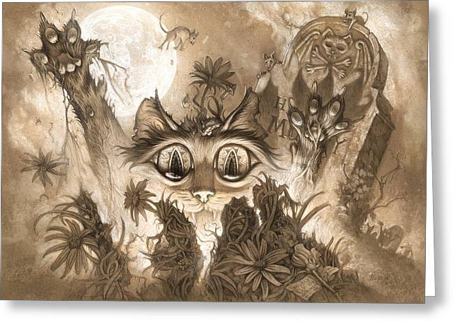 Pushing Greeting Cards - Zombie Cats Greeting Card by Jeff Haynie
