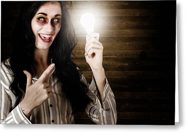 Fiend Greeting Cards - Zombie girl holding lightbulb with bad idea Greeting Card by Ryan Jorgensen