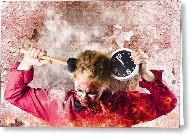 Overtime Greeting Cards - Zombie in fire holding clock. Out of time Greeting Card by Ryan Jorgensen
