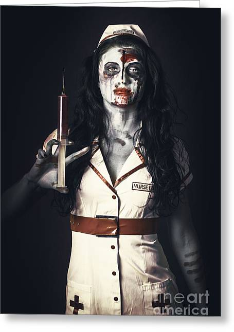 Zombie Nurse Holding Bloody Euthanasia Syringe Greeting Card by Jorgo Photography - Wall Art Gallery