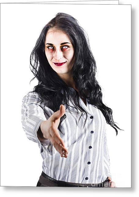 Striped Blouse Greeting Cards - Zombie offers her hand Greeting Card by Ryan Jorgensen