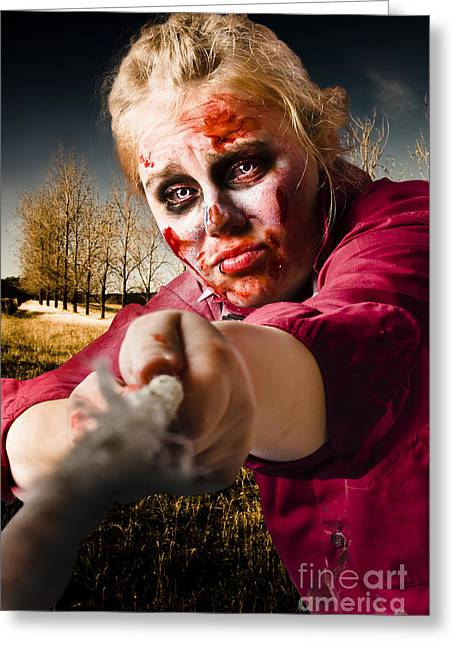 Fiend Greeting Cards - Zombie pulling tug of war rope. Determined spirit Greeting Card by Ryan Jorgensen