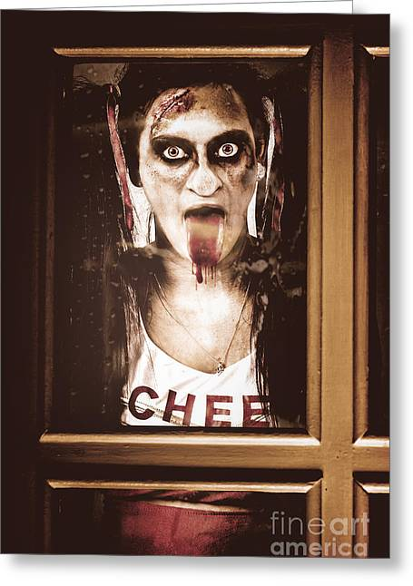 Poking Greeting Cards - Zombie school girl pulling a funny face on glass Greeting Card by Ryan Jorgensen