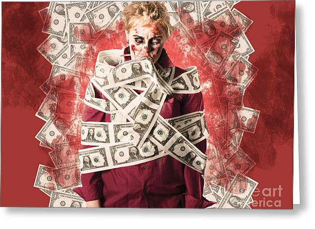 Inflation Greeting Cards - Zombie tied up in financial debt. Dead money Greeting Card by Ryan Jorgensen