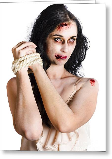 Straps Greeting Cards - Zombie tied up Greeting Card by Ryan Jorgensen