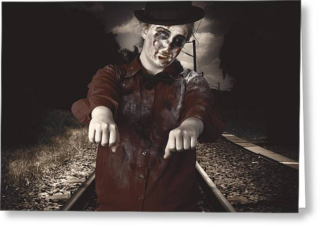 Living Dead Greeting Cards - Zombie walking undead down train tracks Greeting Card by Ryan Jorgensen