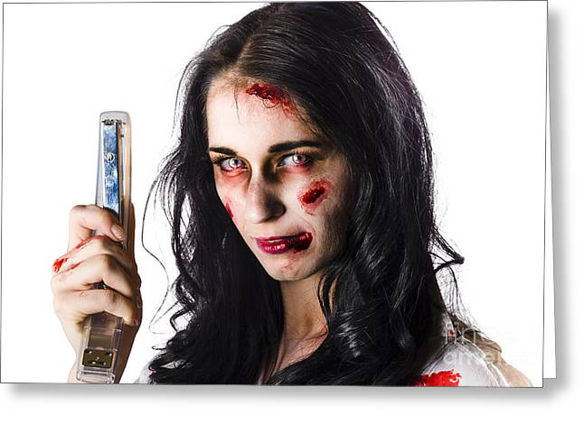 Frightful Greeting Cards - Zombie woman with stapler Greeting Card by Ryan Jorgensen
