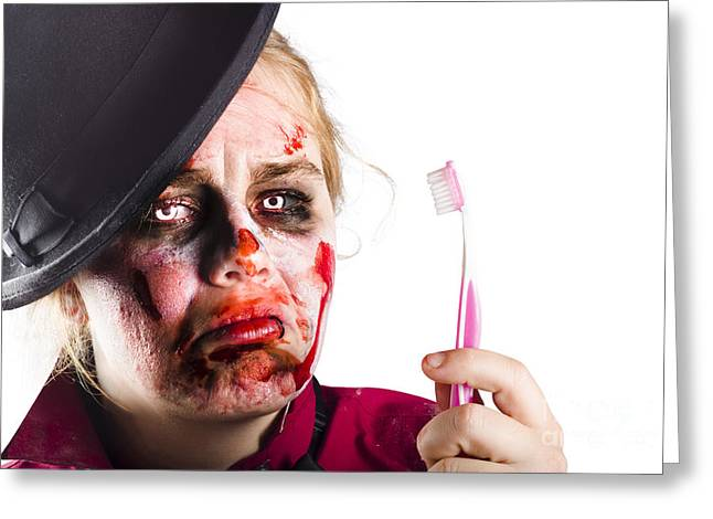Ghastly Greeting Cards - Zombie woman with toothbrush Greeting Card by Ryan Jorgensen