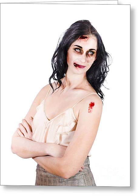 Straps Greeting Cards - Zombie women posing Greeting Card by Ryan Jorgensen