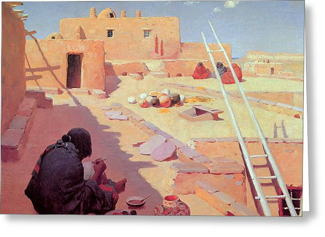 Adobe Greeting Cards - Zuni Pottery Maker Greeting Card by William Robinson Leigh