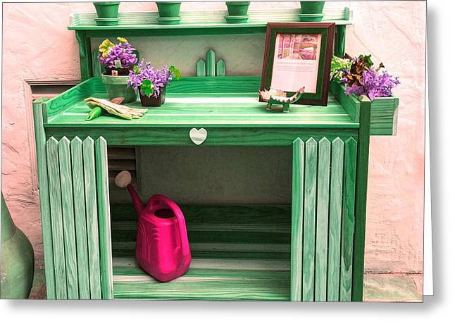 Potting Bench Greeting Cards - 10 - Green Potting Table Greeting Card by Pat Harrison