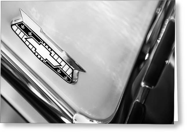 1955 Greeting Cards - 1955 Chevrolet Belair Emblem Greeting Card by Jill Reger