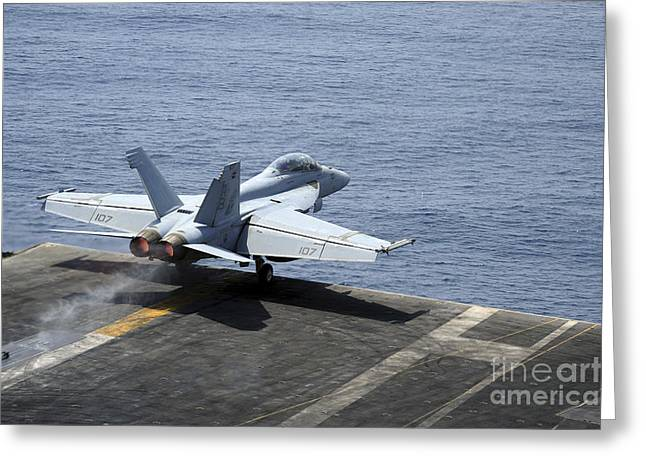 The Higher Planes Greeting Cards - An Fa-18f Super Hornet Launches Greeting Card by Stocktrek Images