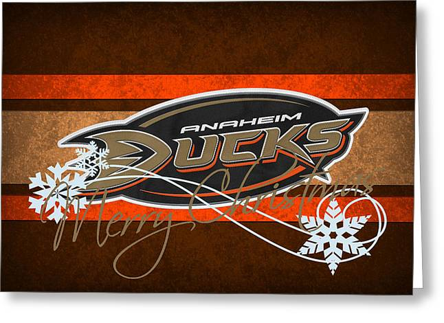 Ducks. Christmas Card. Greeting Card. Greeting Cards - Anaheim Ducks Greeting Card by Joe Hamilton