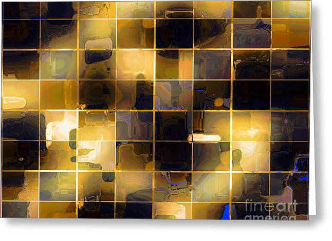 Golds Tapestries - Textiles Greeting Cards - Tiled Blocks Morning Glow Greeting Card by Barbara Griffin