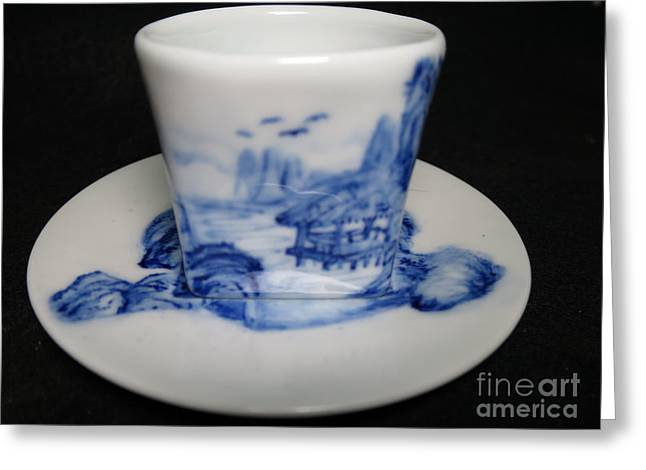 Blue And White Ceramics Greeting Cards - Blue And White Porcelain Greeting Card by Champion Chiang