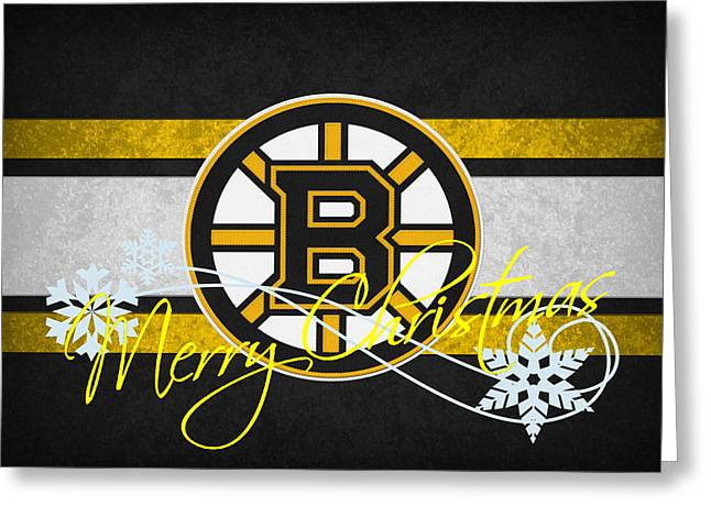 Skate Greeting Cards - Boston Bruins Greeting Card by Joe Hamilton