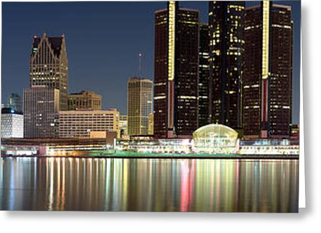 Detroit Photography Greeting Cards - Buildings In A City Lit Up At Night Greeting Card by Panoramic Images