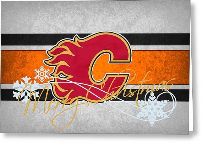Skates Greeting Cards - Calgary Flames Greeting Card by Joe Hamilton
