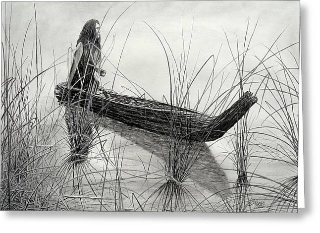 Canoe Drawings Greeting Cards - Canoe of Tules Greeting Card by Charles Rogers