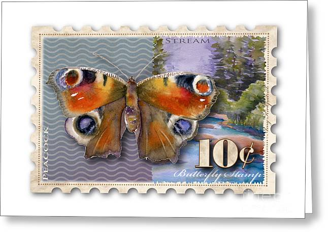 Buckeye Greeting Cards - 10 Cent Butterfly Stamp Greeting Card by Amy Kirkpatrick