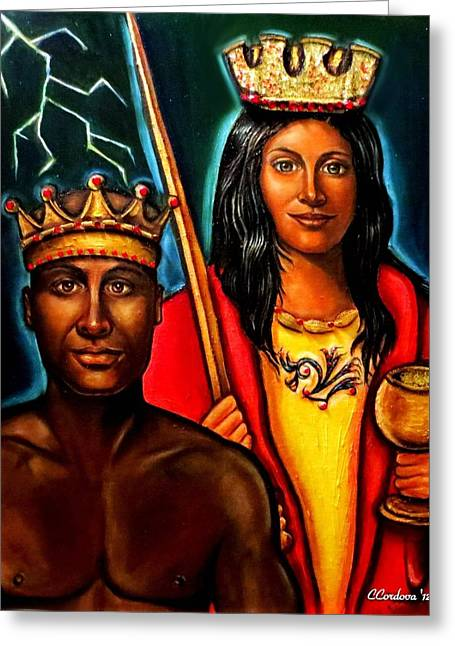 Xango Greeting Cards - Chango and Saint Barbara Greeting Card by Carmen Cordova